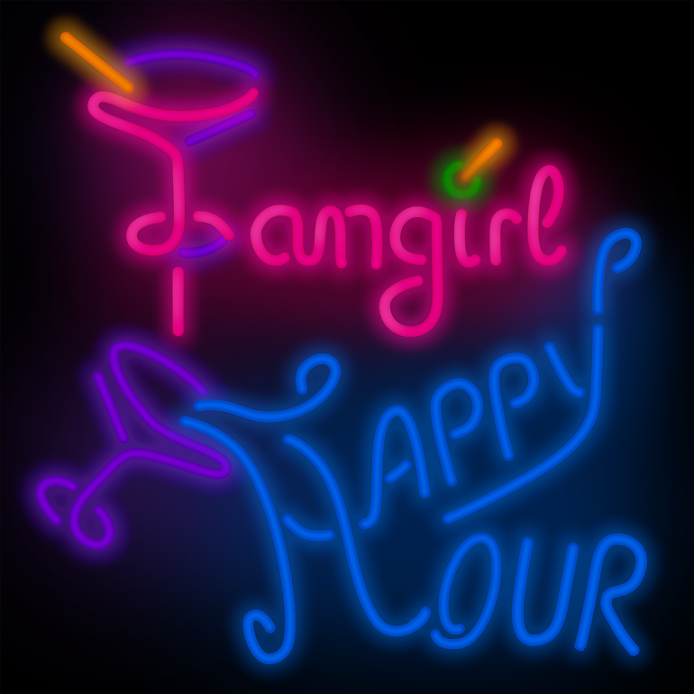 Fangirl Happy Hour written out in neon sign lettering.
